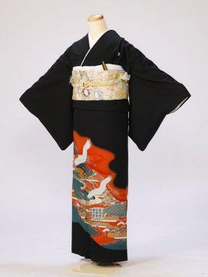 黒留袖0279雲取鶴2羽(化繊)