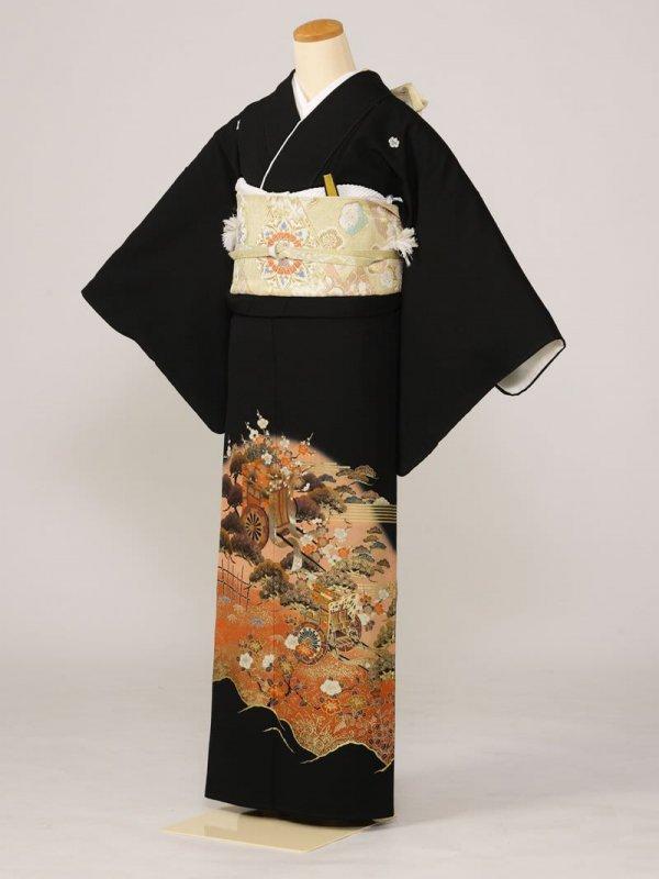 黒留袖0131松梅寒椿御所(化繊)