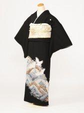 黒留袖0140白鶴山松(化繊)