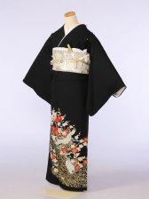 黒留袖0058金水輪梅鶴(化繊)