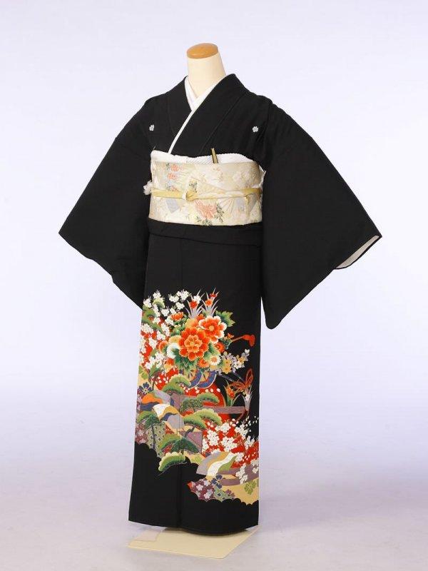 黒留袖0093赤地花車三階松に桜(化繊)