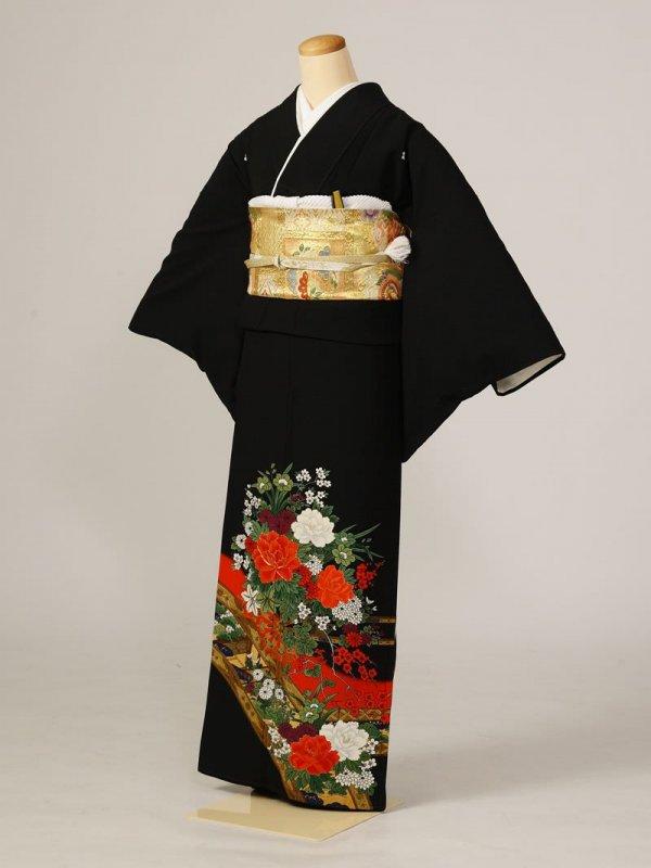 黒留袖0217橋花車赤(化繊)
