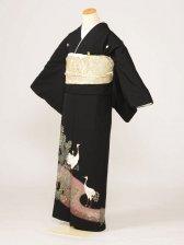 黒留袖0141金たたき松立鶴(化繊)