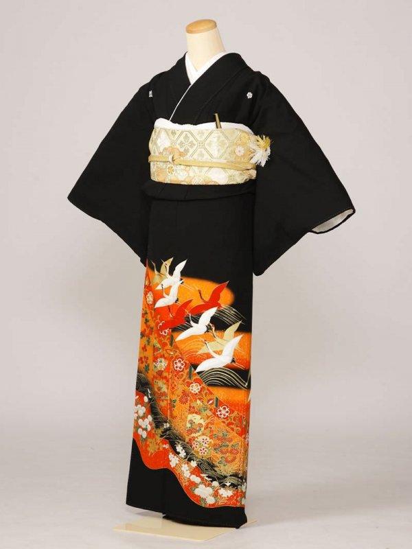 黒留袖0021オレンジ色鶴扇面洋花(化繊)