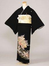 黒留袖0015金渦巻薄紫と金箔二面扇(化繊)