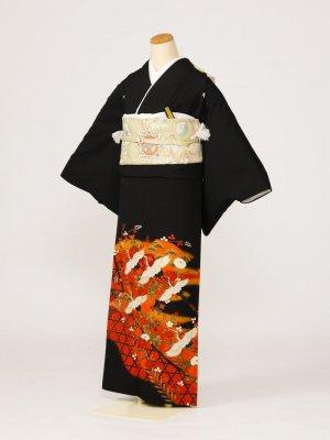黒留袖0159垣根千羽鶴(化繊)