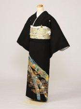 黒留袖0232竹孔雀花金の水輪(化繊)