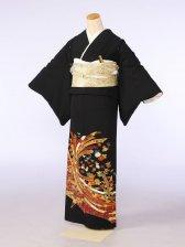 黒留袖0102束ねのし笹梅菊もみじ(化繊)