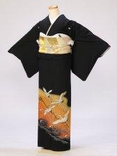黒留袖0295朱赤黄ぼかし千羽鶴(化繊)