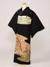 黒留袖0179薄茶金紺渦巻紅白梅枝(正絹)