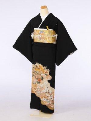 黒留袖0052巻絵御所車白小鶴(正絹)