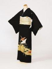 黒留袖0115光琳鶴三階松金箔(化繊)