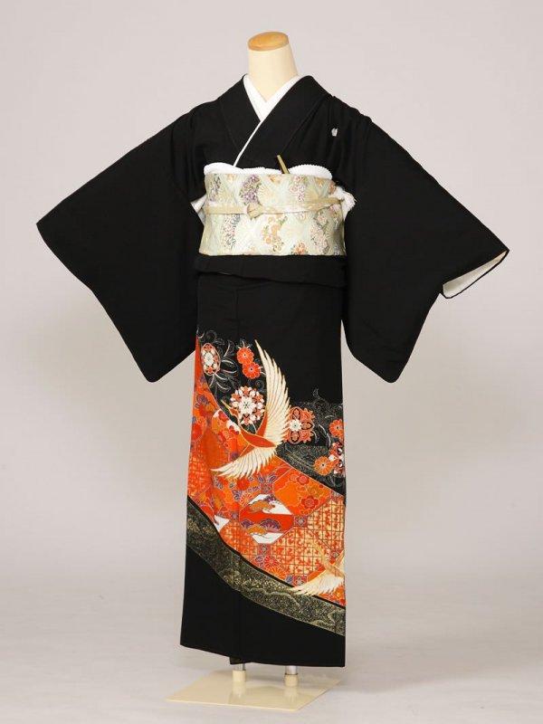 黒留袖0005赤格子金箔鶴(化繊)