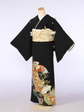 黒留袖0074扇面の中牡丹鶴小菊(化繊)