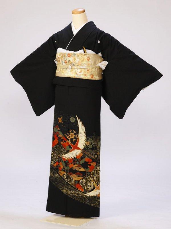 黒留袖0285亀甲の中菊梅鶴(化繊)