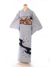 単衣 黒 桜の流れ kt7014