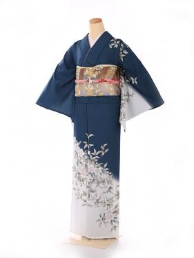 単衣 緑 白枝桜の流れ kt7019