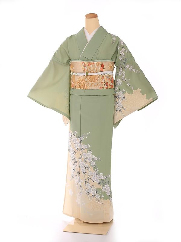 単衣 黄緑 枝垂桜 kt7013