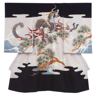 【正絹】お宮参り男の子280 黒 /昇り龍と松