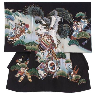 【正絹】お宮参り男の子258 黒 /鷹と太鼓