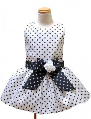 110cm/白地モノトーンドットチュチュドレス