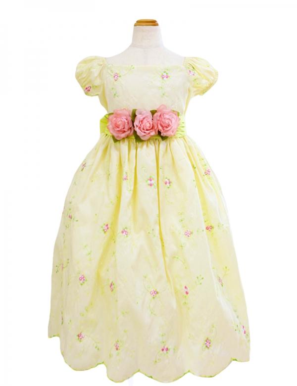 バナナ110cm/糸刺繍パフスリーブドレス