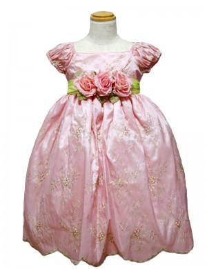 ローズ140cm/糸刺繍パフスリーブドレス