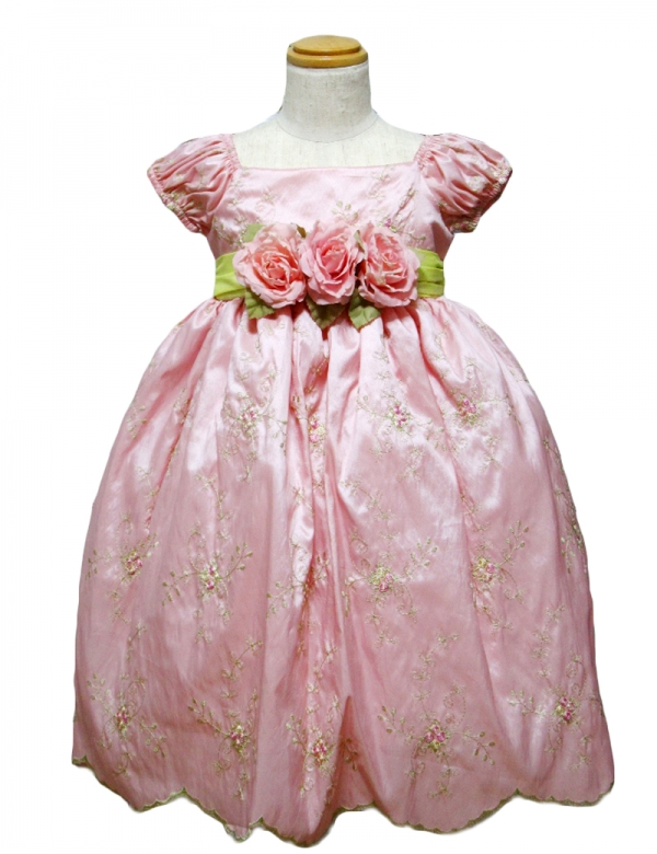 ローズ130cm/糸刺繍パフスリーブドレス