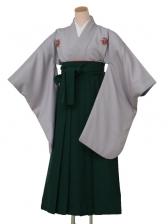 卒業袴レンタル8403二尺グレー花紋