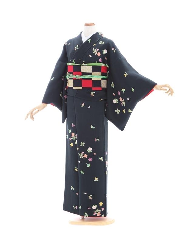 小紋42/黒地に桜菊いちょう