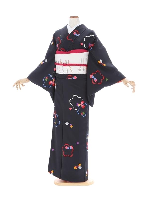 小紋47/黒地に桜柄