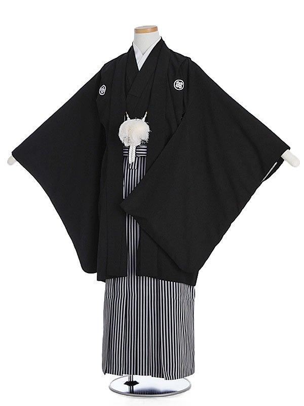ジュニア男児(10歳)黒紋付×縞袴km10