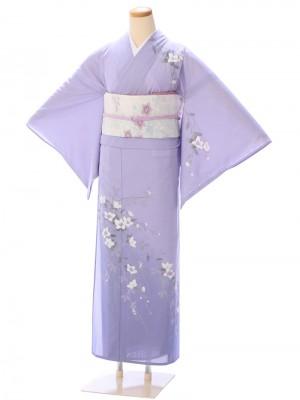 夏用 訪問着(絽)3L49 紫地 白花