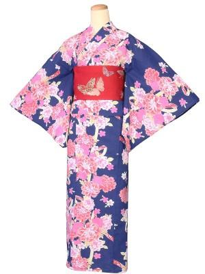 ワンタッチ 浴衣(XS 149-154cm)紺