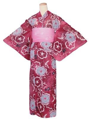 ワンタッチ 浴衣(S 153-158cm)赤