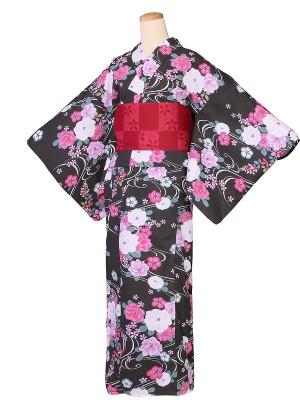 ワンタッチ 浴衣(S 153-158cm)黒
