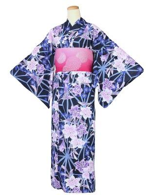 ワンタッチ 浴衣(S 153-158cm)紺