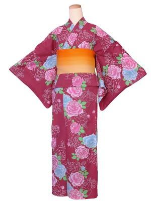 ワンタッチ 浴衣(L 162-167cm)赤