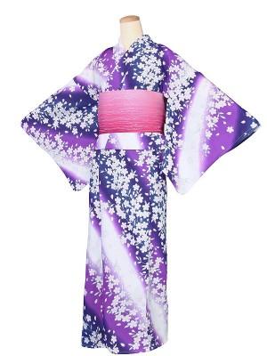 ワンタッチ 浴衣(S 152-157cm)紺
