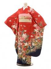 振袖/赤地/花と蝶/A009