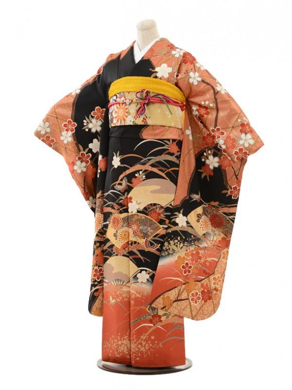 振袖/黒地/扇と桜/A028