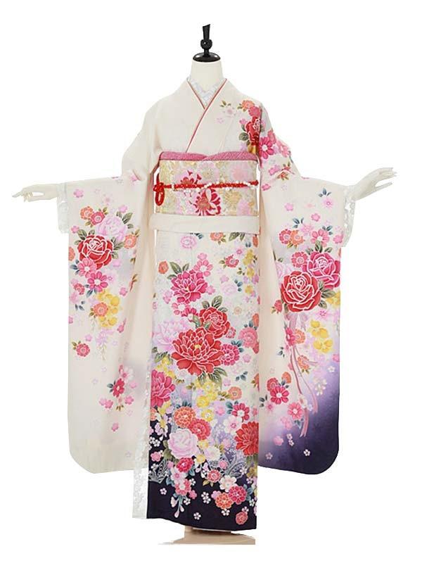 振袖0046 白 バラ/花模様