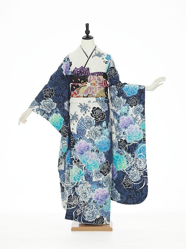 振袖0053 青×白 バラ/蝶/花模様