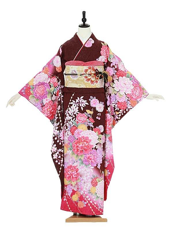 振袖0081 紫×ピンク バラ/牡丹/花模様
