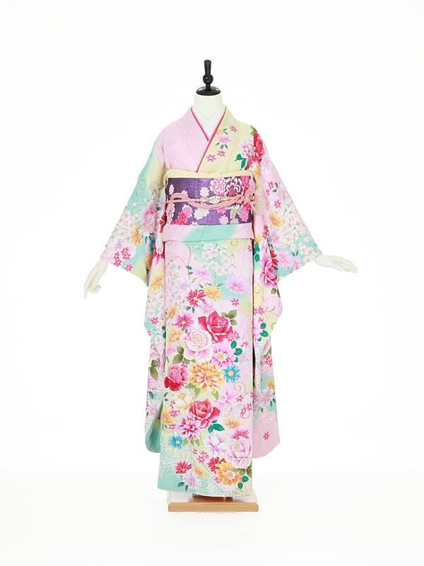振袖0088 ピンク バラ/花模様