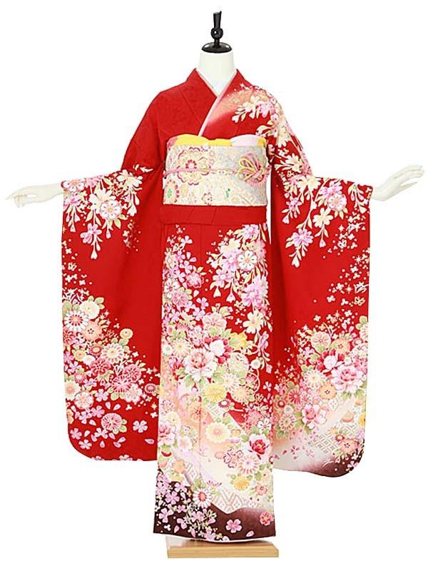振袖0098 赤 桜/花模様