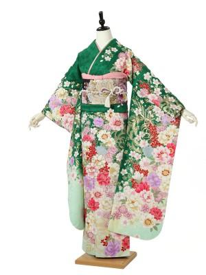 振袖0135 緑 ピンク 桜