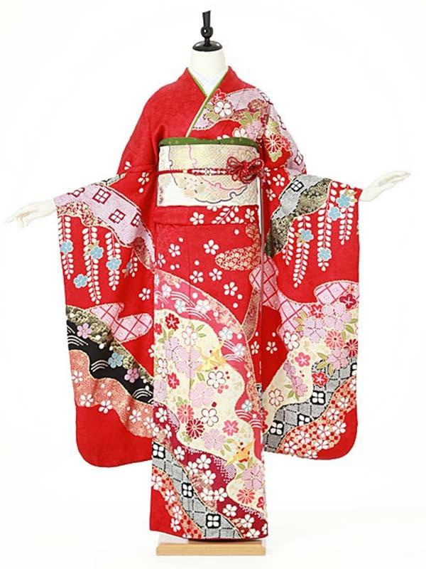 振袖0100 赤 絞り柄/桜/古典