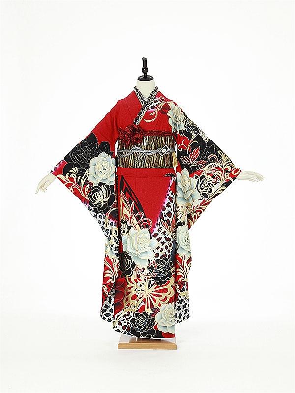 振袖0125 黒×赤 バラ/蝶