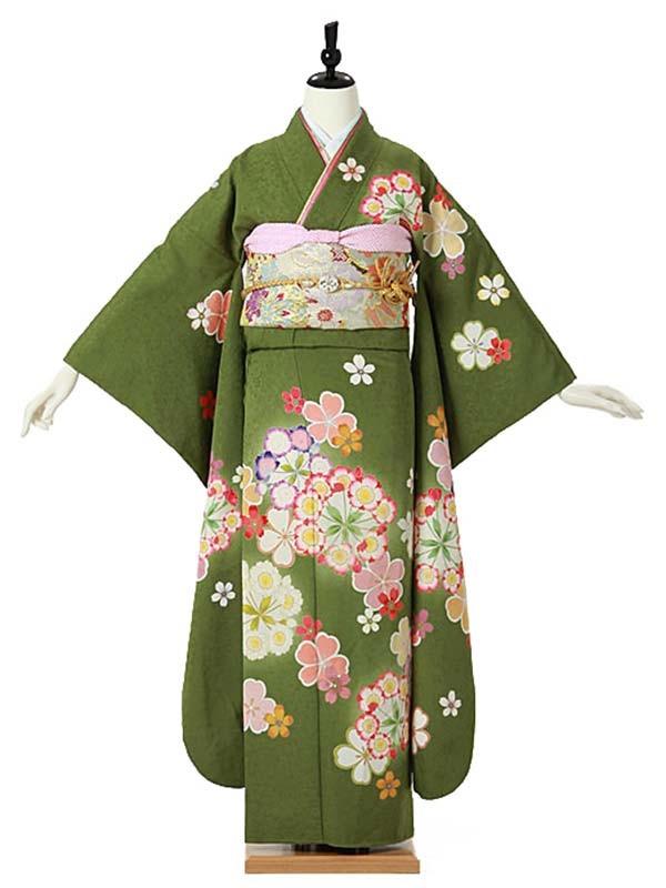 振袖0092 緑 桜/花模様